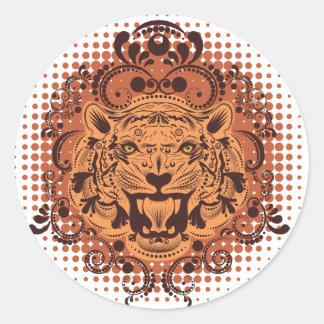 Dekoratives Tiger-Porträt Runder Aufkleber