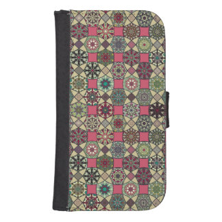 Dekoratives Vintages buntes Muster mit Patchwork Phone Geldbeutel
