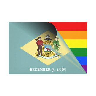 Delaware-Flaggen-Gay Pride-Regenbogen Leinwanddruck
