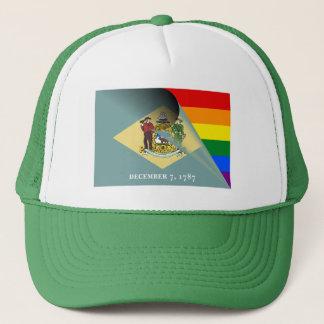 Delaware-Flaggen-Gay Pride-Regenbogen Truckerkappe