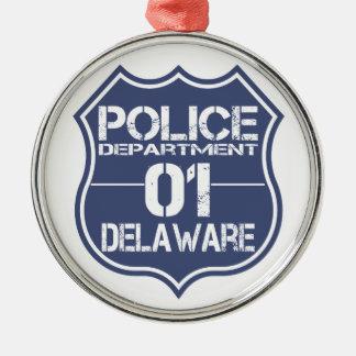 Delaware-Polizeidienststelle-Schild 01 Silbernes Ornament