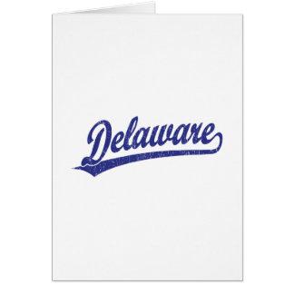 Delaware-Skriptlogo im Blau Karte