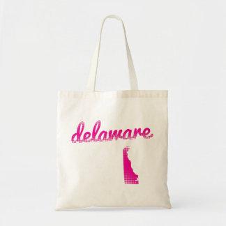 Delaware-Staat im Rosa Budget Stoffbeutel