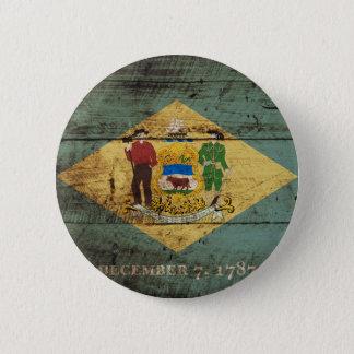 Delaware-Staats-Flagge auf altem hölzernem Korn Runder Button 5,7 Cm
