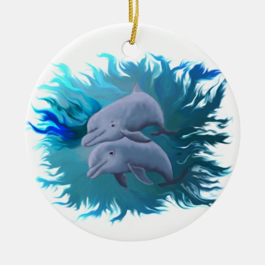 Delfinpaar Rundes Keramik Ornament