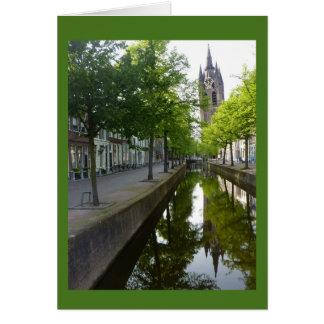 Delft-Kanal u. Oude Kerk Mitteilungskarte