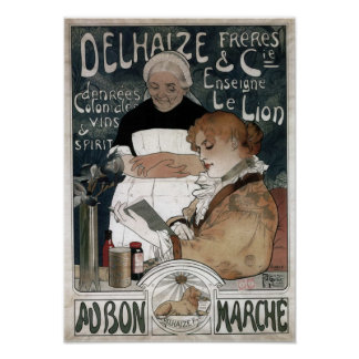 Delhaize Freres u. Cie-Kekse Vins u. Geist 1900 Poster