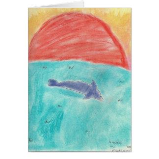Delphin am Sonnenuntergang durch Madeleine Grußkarte