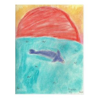 Delphin am Sonnenuntergang durch Madeleine Postkarten