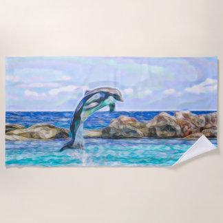Delphin-Herausspringen der Wasser-Fraktal-Kunst Strandtuch