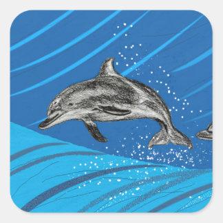 Delphin-Herausspringen des blauen Meeres Quadratischer Aufkleber