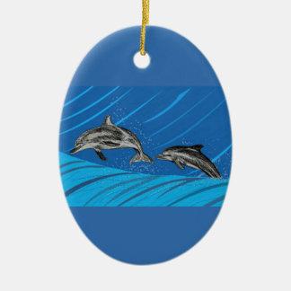Delphin-Herausspringen des Meeres Keramik Ornament