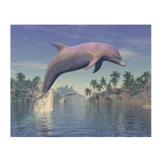 Delphin in den Tropen - 3D übertragen Holzleinwand