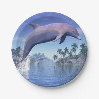 Delphin in den Tropen - 3D übertragen Pappteller