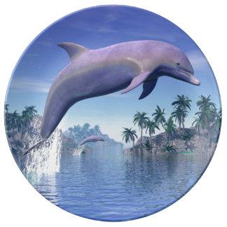 Delphin in den Tropen - 3D übertragen Teller