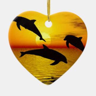 Delphin Keramik Herz-Ornament
