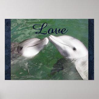 Delphin-Liebe-Fisch-Wasser-Marineozean-Tier Poster