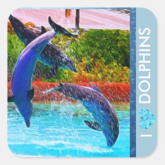 Delphin-Liebhaber-Aufkleber Quadratischer Aufkleber