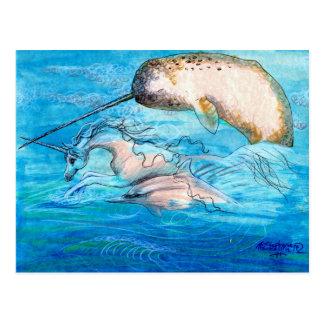 Delphin, Narwhal und Einhorn Postkarte