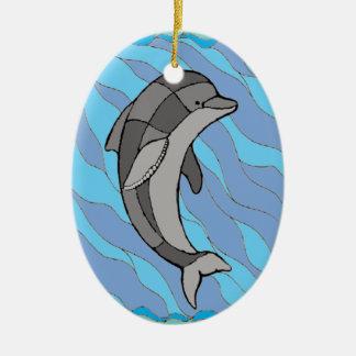 Delphin Ovales Keramik Ornament