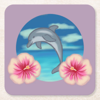 Delphin-Paradies Rechteckiger Pappuntersetzer