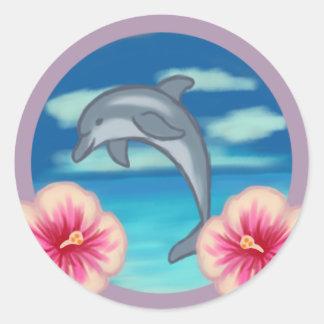 Delphin-Paradies Runder Aufkleber