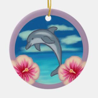 Delphin-Paradies Rundes Keramik Ornament