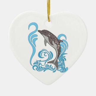 Delphin-Spritzen Keramik Herz-Ornament