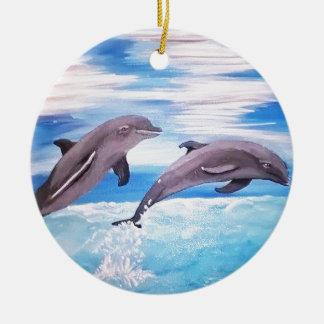 Delphin-Sprung Rundes Keramik Ornament