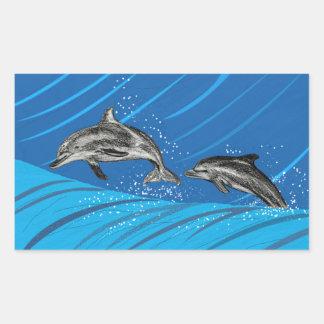 Delphine des blauen Meeres Rechteckiger Aufkleber