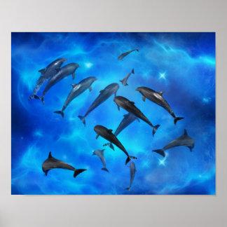 Delphine, die im Ozean schwimmen Poster