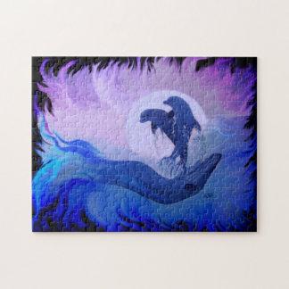 Delphine im Mondschein Foto Puzzle