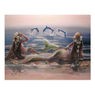 Delphine u. Meerjungfrau-Postkarte Postkarte