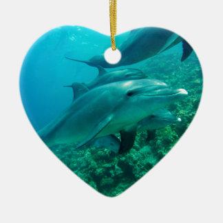 Delphinfisch-Marineozean unter Wasser-Schwimmen Keramik Herz-Ornament