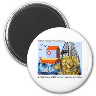 Delphinsicherer Tuba-lustige Geschenk-T-Shirts u. Runder Magnet 5,7 Cm