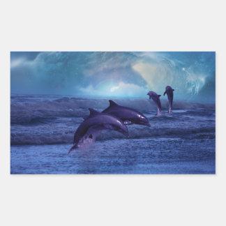 Delphinspaß und -spiel rechteckiger aufkleber