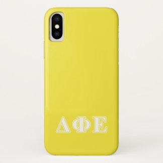 Deltaphi-weiße und gelbe Epsilonbuchstaben iPhone X Hülle
