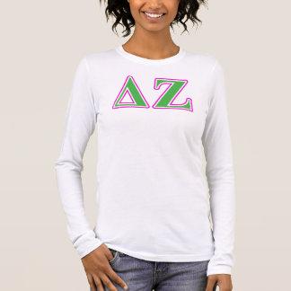 Deltazeta-rosa und grüne Buchstaben Langarm T-Shirt