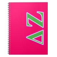 Deltazeta-rosa und grüne Buchstaben