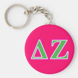 Deltazeta-rosa und grüne Buchstaben Schlüsselanhänger