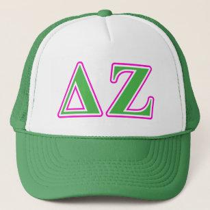 Deltazeta-rosa und grüne Buchstaben Truckerkappe