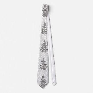Deluxer Schwarzweiss-Damast-Weihnachtsbaum Personalisierte Krawatte