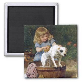 Dem Hund ein Bad geben - Vintage Hundekunst Quadratischer Magnet