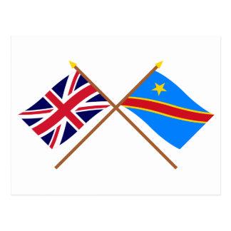 Demokratische Republik-gekreuzte Flaggen Postkarte
