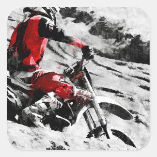 Den Berg besitzen - Motocross Schmutz-Fahrrad Quadratischer Aufkleber