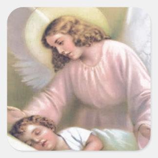 Den Engel der Kinder, Vintag, Wiedergabe schützen, Quadratischer Aufkleber