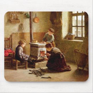 Den Ofen beleuchten, 1886 (Öl auf Platte) Mauspad