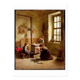 Den Ofen beleuchten, 1886 (Öl auf Platte) Postkarte