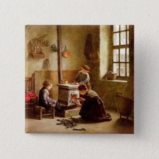 Den Ofen beleuchten, 1886 (Öl auf Platte) Quadratischer Button 5,1 Cm