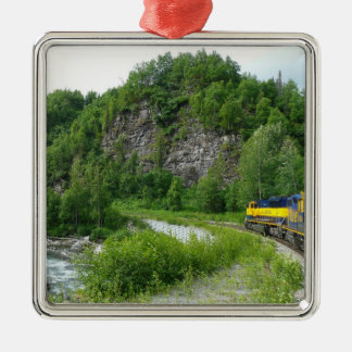 Denali Eilalaska Zug-Ferien-Fotografie Quadratisches Silberfarbenes Ornament